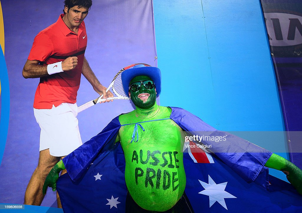 An Australian fan shows his support during day eight of the 2013 Australian Open at Melbourne Park on January 21, 2013 in Melbourne, Australia.
