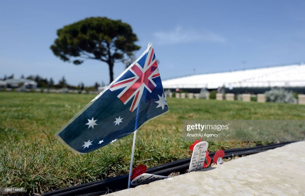 An Australian flag is seen at the Lone Pine Memorial before the commemoration ceremonies of the 99th anniversary of the Canakkale Land Battles which...