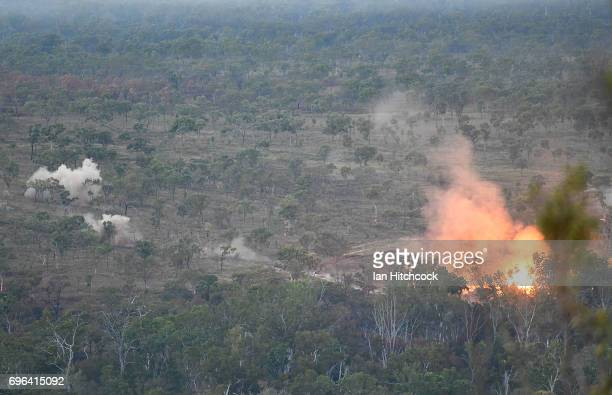 An Australian M1 Abrams tank fires during the 3rd Brigade Live Fire Exercise 'Brolga Strike' on June 16 2017 in Townsville Australia Exercise Brolga...