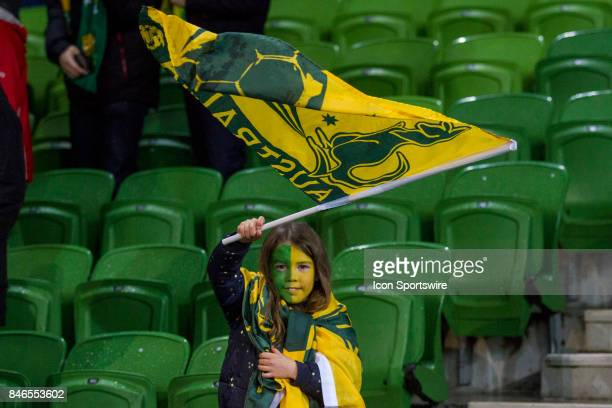 An Australian National Football Team supporter shows her support during the FIFA World Cup Qualifier Match Between the Australian National Football...