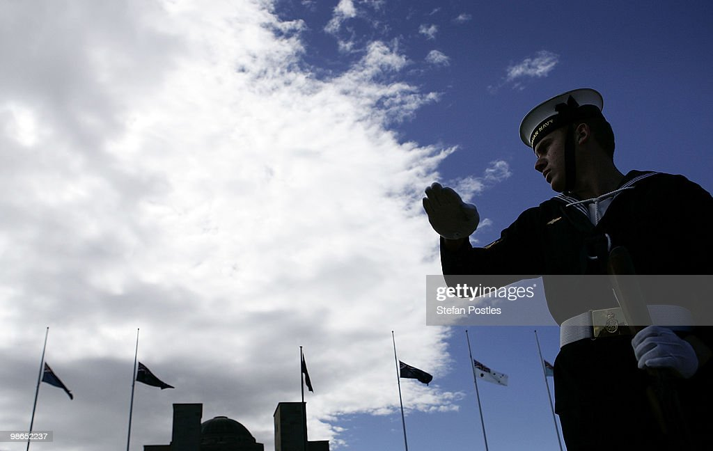 An Australian Navy Personnel during the ANZAC Day National Ceremony at the Australian War Memorial on April 25, 2010 in Canberra, Australia. Veterans, dignitaries and members of the public today marked the 95th anniversary of ANZAC (Australia New Zealand Army Corps) Day, when First World War troops landed on the Gallipoli Peninsula, Turkey early April 25, 1915, commemorating the event with ceremonies of remembrance for those who fought and died in all wars.