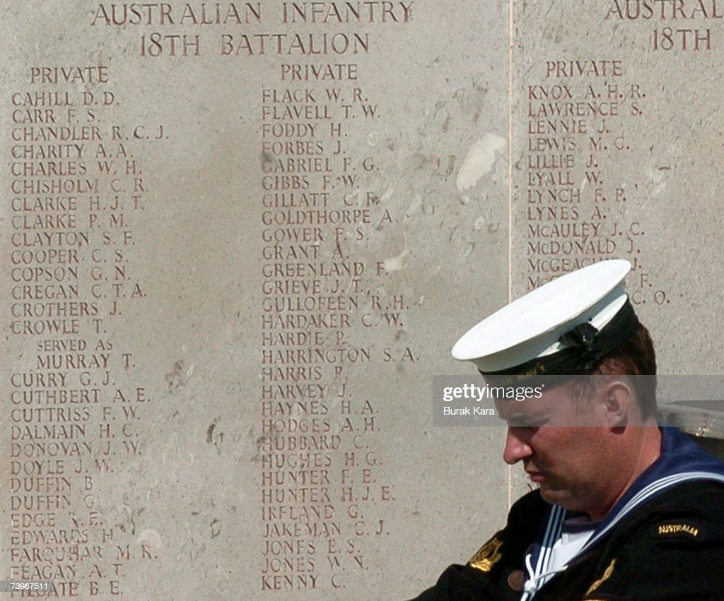 An Australian soldier stands guard next to the names of the deceased at the Australian Memorial of Lone Pine war cemetery where 4228 Australian soldiers are buried on April 25, 2007 in Gallipoli, Turkey. Today to marks the 92nd anniversary of the World War I campaign of Gallipoli. Some 4,000 Australian and New Zealand soldiers struggled ashore to Gallipoli's narrow beach 92 years ago in the ill-fated Gallipoli campaign that would claim more than 130,000 lives, at the edge of this remote peninsula in western Turkey.