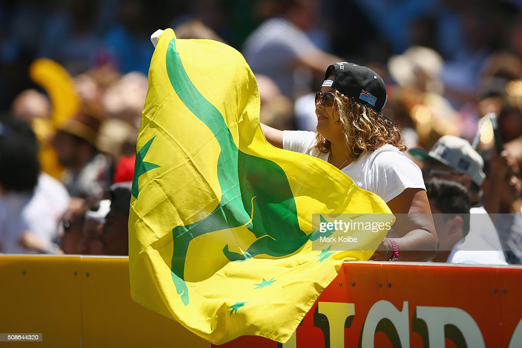 An Australian supporter cheers during the 2016 Sydney Sevens match between Australia and Portugal at Allianz Stadium on February 6, 2016 in Sydney, Australia.