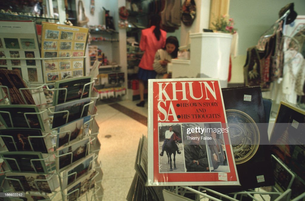 An autobiography published by drug warlord Khun Sa is sold in the Chiang Mai airport bookshop