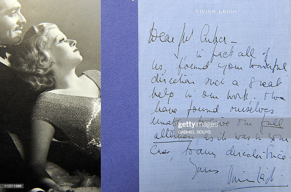 An autograph letter from Vivien Leigh to director George Cukor is seen at Bonhams and Butterfields on April 14, 2011 in Los Angeles, California, during a preview before an auction on April 20. The photograph is estimated USD 8,000 - USD 12,000. AFP PHOTO / GABRIEL BOUYS