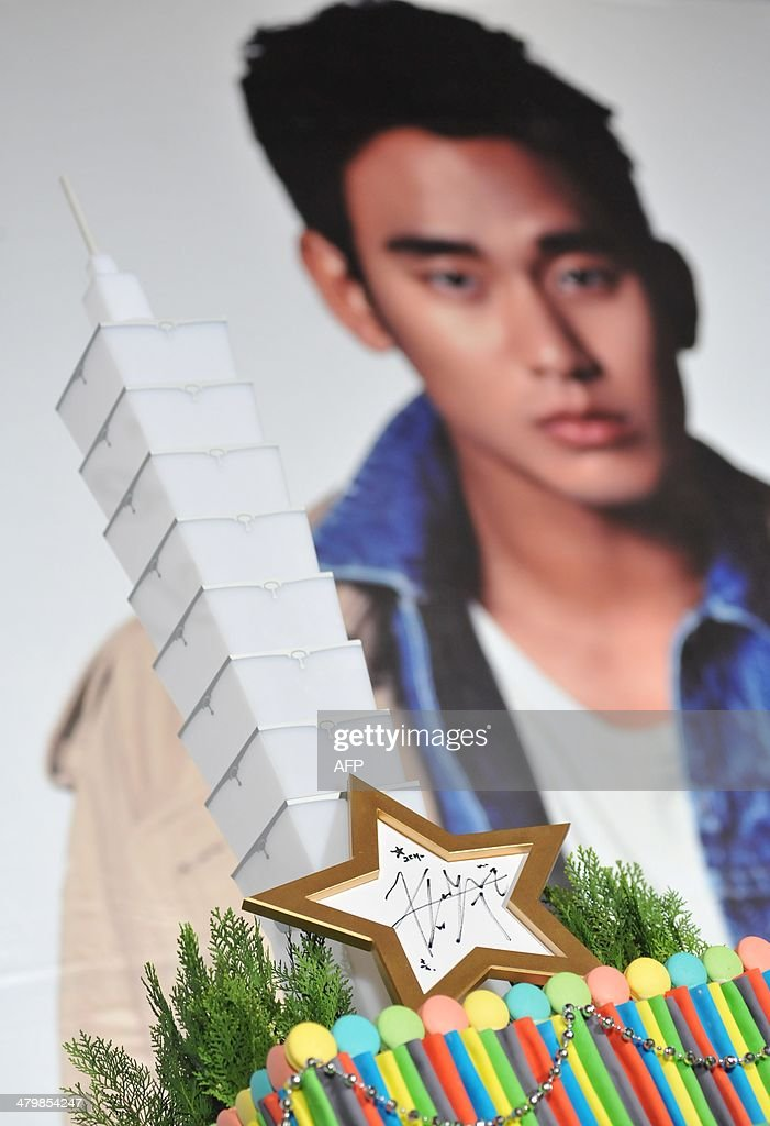An autograph of South Korean actor Kim Soo-Hyun is displayed during his '1st Memories In Taiwan' press conference in Taipei on March 21, 2014. Kim will meet with fans in six countries for his upcoming fan meeting tour, which started this March. AFP PHOTO / Mandy CHENG