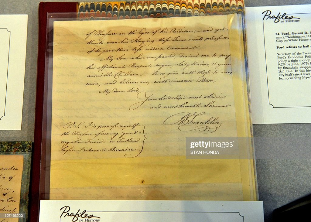 An autographed letter by Benjamin Franklin to Lord Kaims written June 2, 1765 about his voyage back to America from 1762 to 1763 including the suppression of rioters who murdered peaceful Indians on display at real estate broker Douglas Elliman's Gallery by Profiles in History auction house December 3, 2012 in New York. The Franklin letter is estimated at USD $30,000 to $50,000 and is included in an auction of historical manuscripts to be held on December 18. AFP PHOTO/Stan HONDA