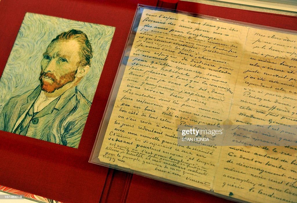 An autographed letter from Dutch painter Vincent Van Gogh less than seven months before his death as he shares his thoughts with an ailing friend on January 20, 1890 to 'M. & Mme. Ginoux' (Joseph Ginoux and Marie Ginoux-Julien), on display at real estate broker Douglas Elliman's Gallery by Profiles in History auction house December 3, 2012 in New York. The Van Gogh letter is estimated at USD $200,000 to $300,000 and is included in an auction of historical manuscripts to be held on December 18. AFP PHOTO/Stan HONDA