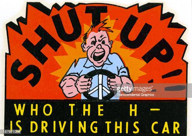 An automobile decal entitled 'Shut Up' was issued circa 1950 from an unknown printer