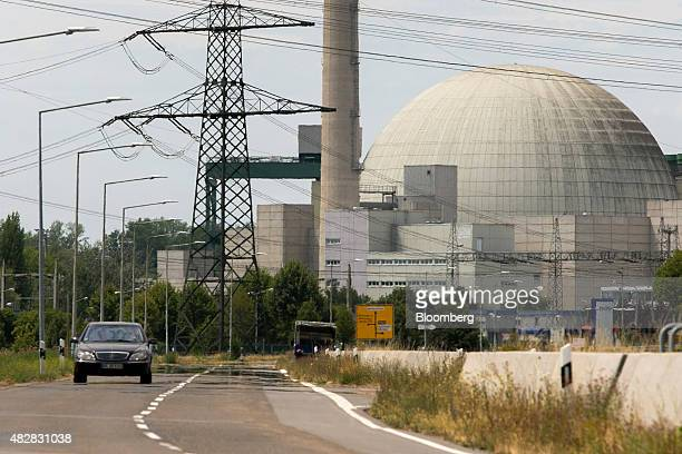 An automobile passes Philippsburg nuclear power plant operated by EnBW Energie BadenWuerttemberg AG in Philippsburg Germany on Wednesday July 22 2015...