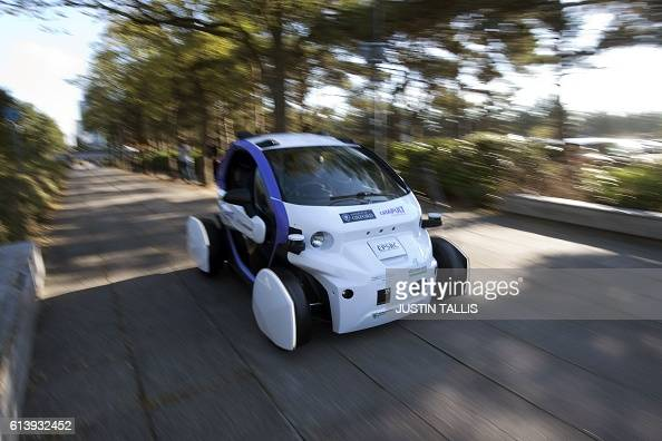 An autonomous selfdriving vehicle as pictured as it is tested in a pedestrianised zone during a media event in Milton Keynes north of London on...