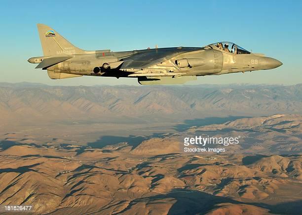 An AV-8B Harrier conducts a test flight using a biofuel blend.
