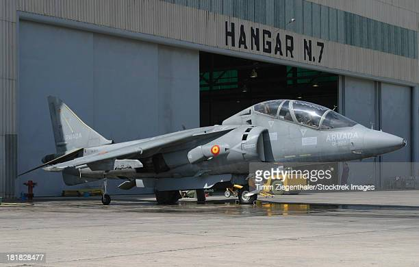 An AV-8B Harrier II of the Spanish Navy parked in front of the hangar bay at Naval Station Rota, Spain.