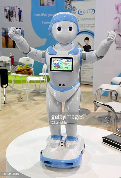 An AvatarMind iPal social companion robot for children elder care and hospitality is displayed at CES 2017 at the Sands Expo and Convention Center on...