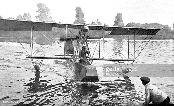 An aviator and sailor Beaumont is testing his hydroplane on the Seine river Paris France 1912