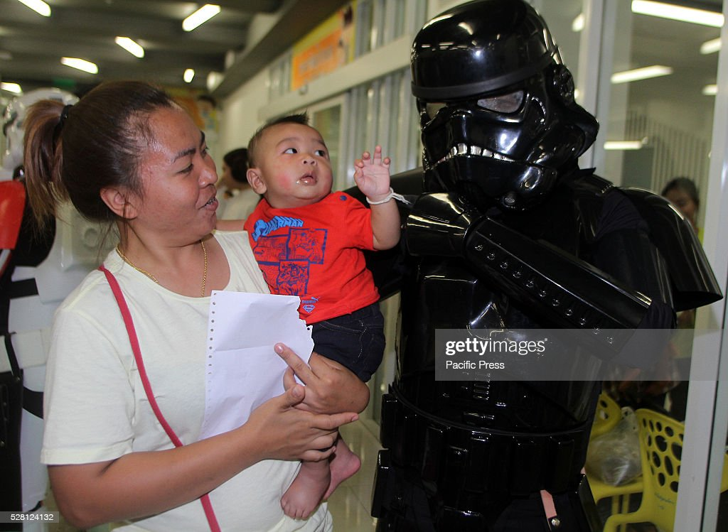 An avid fan of Star Wars in Dark troopers costume, one of the characters in the epic science fiction movie Star Wars held special event with a gift giving that brings smile to a child at Queen Sirikit National Institute of Child Health.
