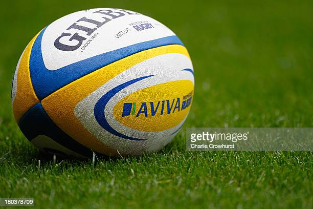 An Aviva branded rugby ball lays on the pitch during the Aviva Premiership match between London Wasps and Harlequins at Twickenham Stadium on...