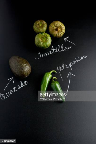 An avocado, jalapeos and tomatillos on a slate surface with labels