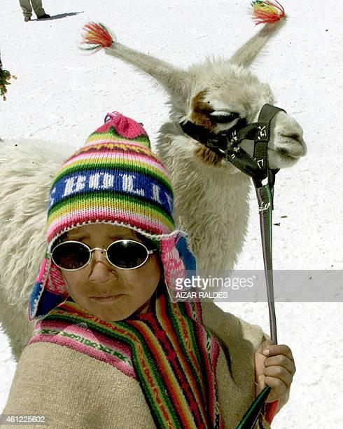 An Aymara peasant boy parades his llama 28 October 2004 at the Uyuni salt flat 500 km south of La Paz The Uyuni salt flat 4000 meters above sea level...