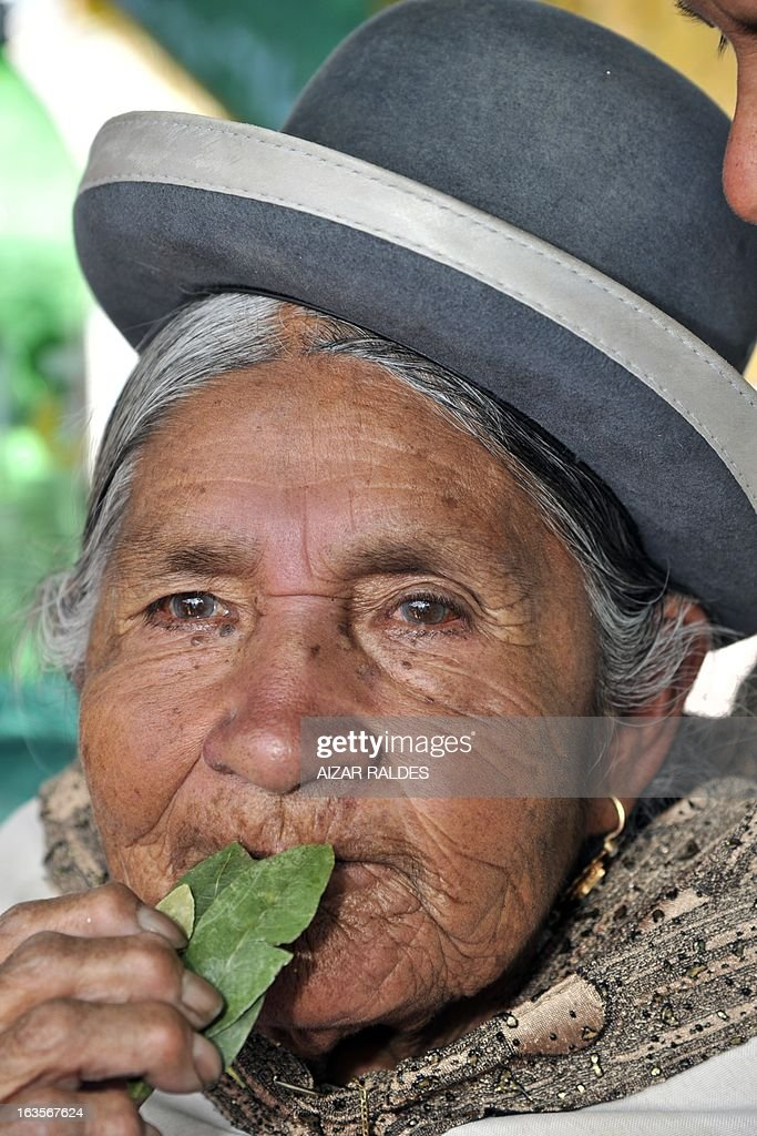 An Aymara woman chews coca leaves at a square of La Paz, on March 12, 2013 during the celebration of the first National year of Coca Chewing (acullicu). AFP PHOTO/Aizar Raldes