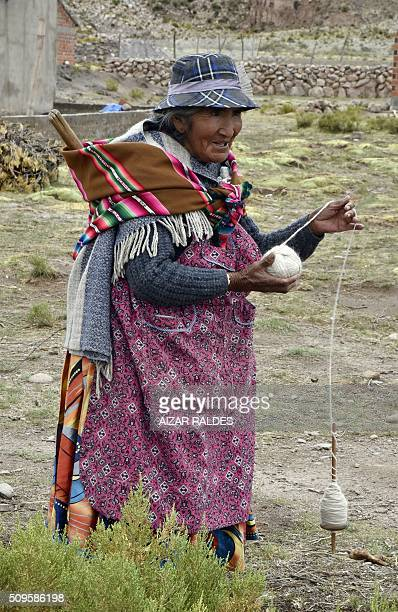 An Aymara woman spins llama wool in the municipality of Turco Oruro Department Bolivia on February 2 2016 AFP PHOTO / AIZAR RALDES / AFP / AIZAR...