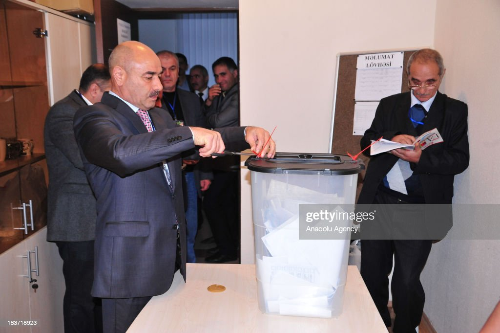 An Azerbaijani officials opens a ballot box after voting closed at a polling station on October 9 in Baku, Azerbaijan. The Presidential election in Azerbaijan is to be held for the 7th time.