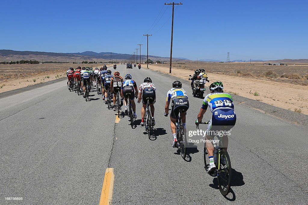 An breakaway of 23 riders echelon against the wind but were caught by the peloton early in Stage Three of the 2013 Amgen Tour of California from Palmdale to Santa Clarita on May 14, 2013 in Palmdale, California.