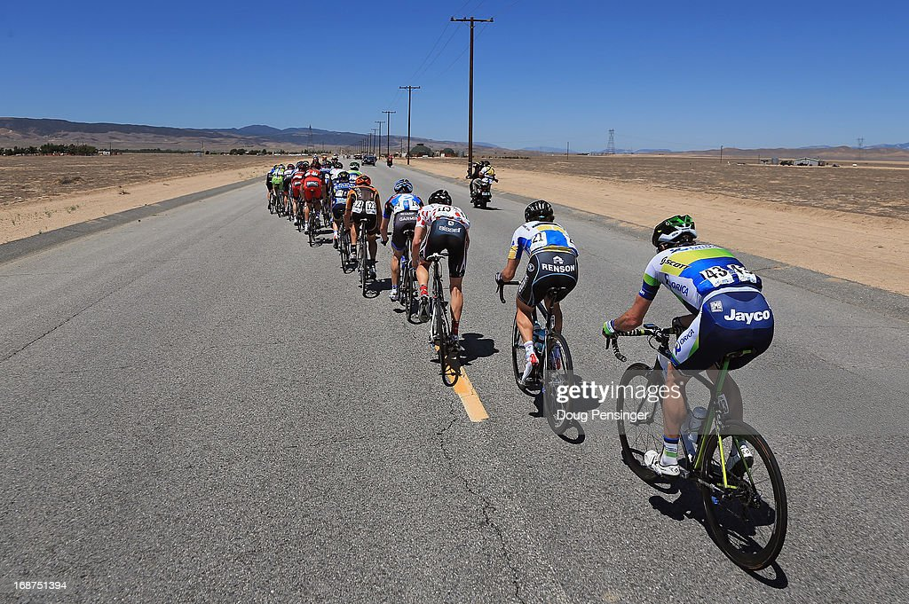 An breakaway of 23 riders echelons against the wind but were caught by the peloton early in Stage Three of the 2013 Amgen Tour of California from Palmdale to Santa Clarita on May 14, 2013 in Palmdale, California.
