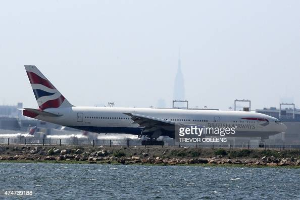 An British Airways jet on the runway at New York's John F Kennedy Airport May 25 2015 US warplanes were scrambled to escort an Air France passenger...