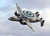 An E-2C Hawkeye performs a fly-by during an air power demonstration.