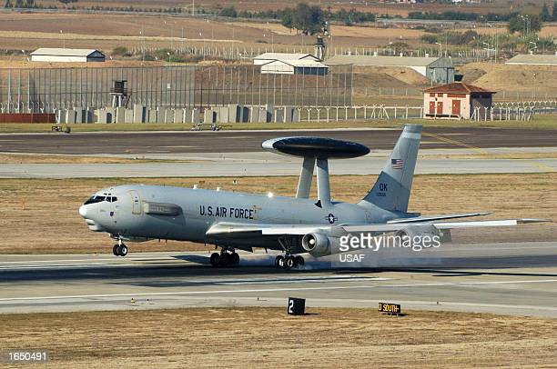 An E3A Sentry aircraft lands at Incirlik Air Base November 17 2002 in Adana Turkey The aircraft and crew are assigned to the 970th Expeditionary...