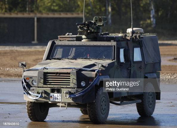 An Eagle armoured vehicle is seen during the annual military exercises held for the media at the Bergen military training grounds on October 2 2013...