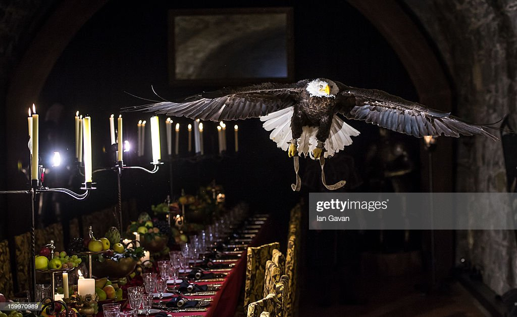 An eagle flies over the table at the Excalibur Dinner hosted by Roger Dubuis during the 23rd Salon International de la Haute Horlogerie at Caves des Vollandes on January 23, 2013 in Geneva, Switzerland.