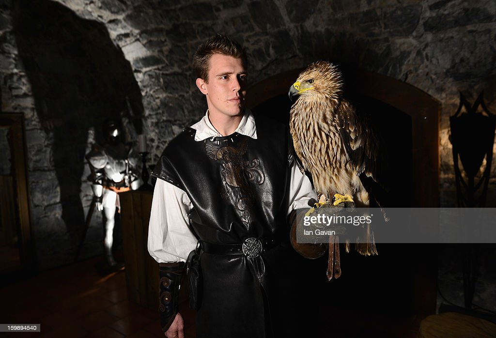 An eagle is pictured at the Excalibur Dinner hosted by Roger Dubuis during the 23rd Salon International de la Haute Horlogerie at Caves des Vollandes on January 21, 2013 in Geneva, Switzerland.