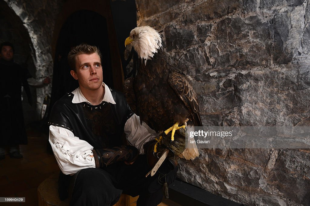 An eagle is pictured at the Excalibur Dinner hosted by Roger Dubuis during the 23rd Salon International de la Haute Horlogerie at Caves des Vollandes on January 22, 2013 in Geneva, Switzerland.