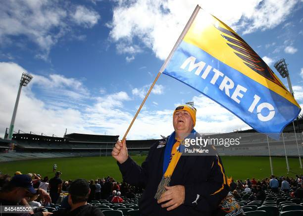 An Eagles fan shows his support during a West Coast Eagles AFL training session at Domain Stadium on September 11 2017 in Perth Australia