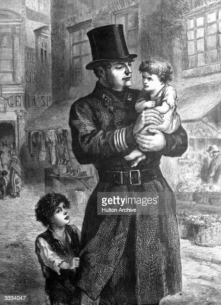 An early British policeman known as a 'Peeler' or 'Bobbie' after Robert Peel the Prime Minister who helped to found the Police Force showing kindly...