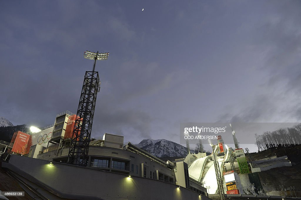An early evening view of the RusSki Gorki Jumping Center, in Rosa Khutor, near Sochi, is seen on February 5, 2014, where the Sochi Winter Olympics 2014 ski jumping and Nordic combined events will take place. The Winter Olympic Games officially open on February 7 to 23.