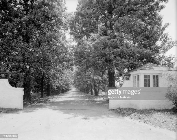 An early general view of Magnolia Lane leading into what is now Founder's Circle at Augusta National Golf Club in the 1920s in Augusta Georgia