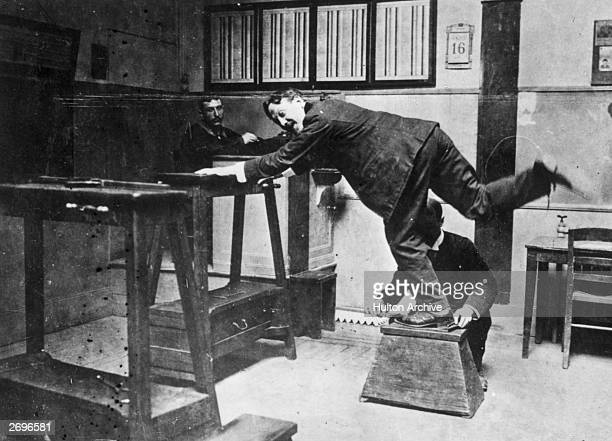 An early method of measuring the feet of criminals which was part of the Bertillon method of anthropometry used by the police force in Paris