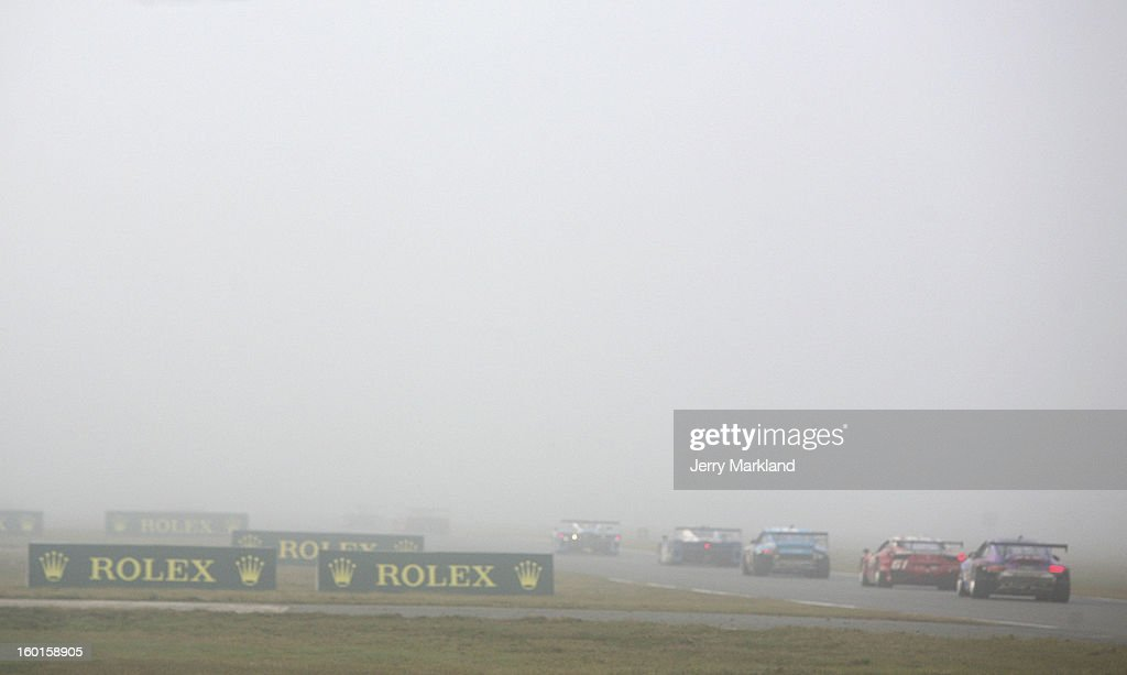 An early morning blanket of fog covers the race track the Rolex 24 at Daytona International Speedway on January 27, 2013 in Daytona Beach, Florida.