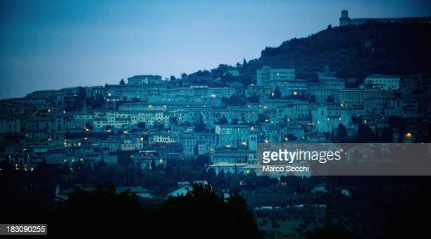 An early morning view over Assisi at the time of arrival of Pope Francis by Helicopter on October 4 2013 in Assisi Italy Pope Francis is due to...
