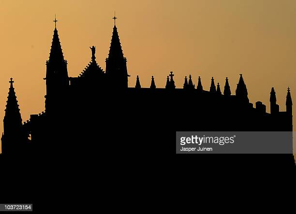 An early rising sun backlites the La Seu cathedral on August 30 2010 in Palma de Mallorca Spain The La Seu cathedral built in the Spanish 'Levantino'...