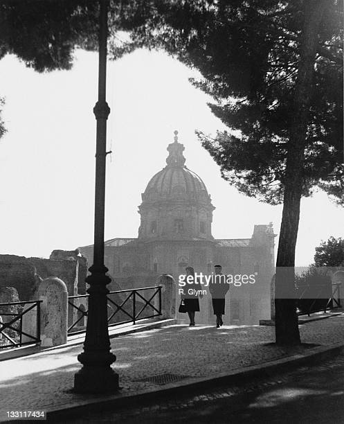 An early springtime morning in Rome Italy circa 1960 In the background is the church of Santi Luca e Martina situated next to the ancient Roman Forum