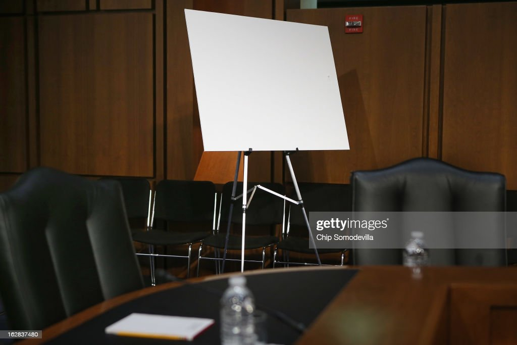 An easel is set out for use before a Congressional Joint Economic Committee hearing on Capitol Hill February 28, 2013 in Washington, DC. The committee heard testimony from two former chairmen of the Council of Economic Advisers, Michael Boskin and Austan Goolsbee, who disagreed on the speed of the nation's economic recovery during the hearing, titled 'State of the U.S. Economy.'