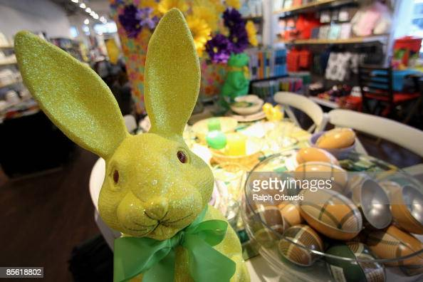 An Easter bunny is displayed for sale at a shop on March 26 2009 in Frankfurt am Main Germany Two weeks before Easter Sunday retailers stock their...