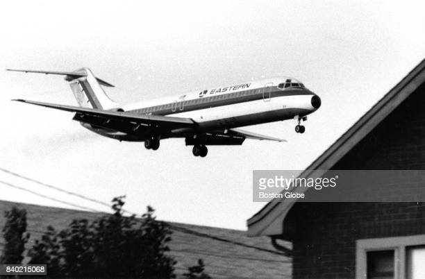 An Eastern Air Lines plane heads into Logan Airport in Boston on Aug 13 1971