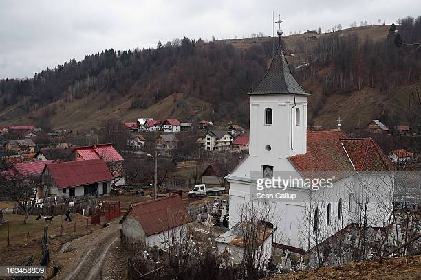 An Eastern Orthodox church stands in southern Transylvania on March 10 2013 in Simon Romania Both Romania and Bulgaria have been members of the...