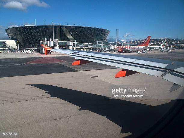 An EasyJet aircraft at Nice airport in the south of France enroute to Stansted airport UK April 2009