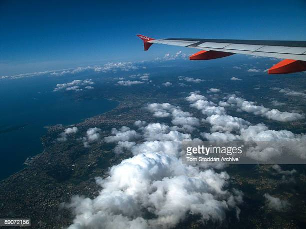 An EasyJet aircraft shortly after takeoff from Nice airport in the south of France enroute to Stansted airport UK April 2009